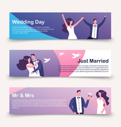 wedding banners template with cartoon vector image