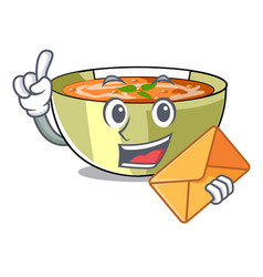 With envelope cartoon lentil soup ready to served vector