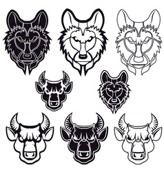 wolf and bull vector image