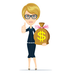woman with a huge bag full of money vector image