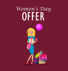 woman with purchases on womens day offer card vector image