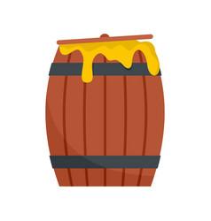 Wood honey barrel icon flat style vector