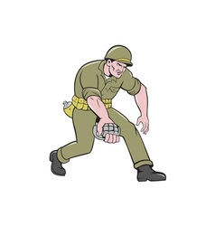World War Two Soldier American Grenade Cartoon vector image