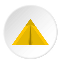 Yellow tourist tent for travel and camping icon vector