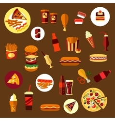 Fast food and takeaway drinks icons vector image vector image
