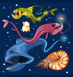 Fish Of The Deep Blue Sea Collection Set 02 vector image