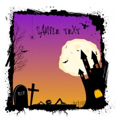 Halloween night with haunted castell vector image