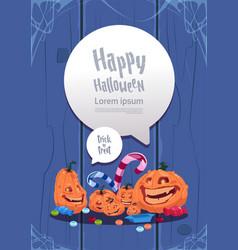 happy halloween party banner pumpkins traditional vector image