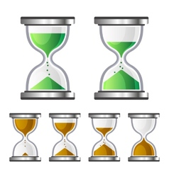 Sand Clock Glass Timer Icons on White Background vector image