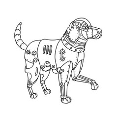 steam punk retriever dog coloring book vector image