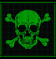 digital skull on dark background vector image vector image