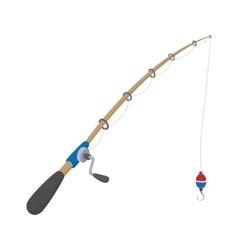 Fishing rod cartoon icon vector image vector image