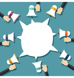 Many hands holding megaphone with bubble speech vector image