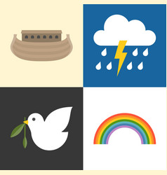 noah ark icons set vector image