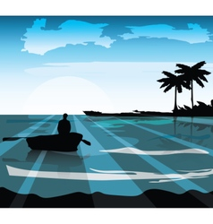Sea island shore Palm leaves on foreground vector image