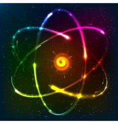 Shining neon atom model vector image
