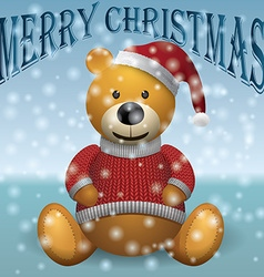 Teddy bear in red sweater red hat with snow text vector image vector image