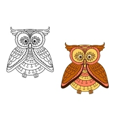 Cartoon brown owl bird with striped body vector image