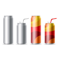 metallic cans set vector image