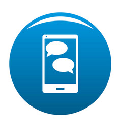 mobile chat icon blue vector image