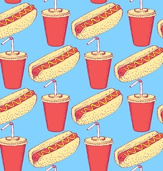 Sketch hotdog and soda in vintage style vector image vector image