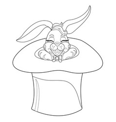 Coloring page rabbit hand drawn vintage doodle vector