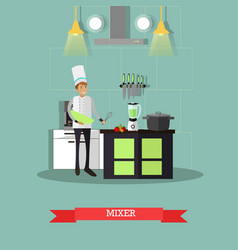 electric mixer in flat style vector image vector image