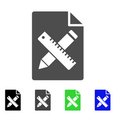 pencil and ruler design tools page flat icon vector image