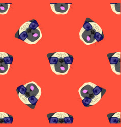 seamless pattern with pug-dog in glasses on red vector image
