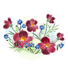 watercolor flowers violets and pansy and leaves on vector image vector image
