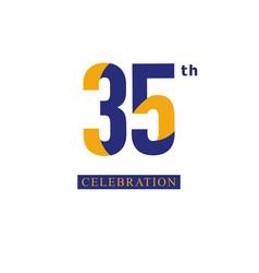35 th anniversary celebration orange blue vector
