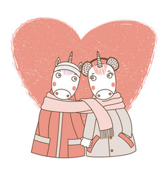 A couple unicorns wrapped in one scarf vector