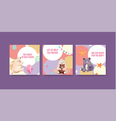 Ads template with baby shower design concept vector