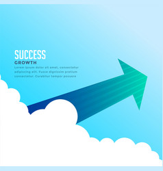 arrow flying through clouds background vector image