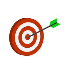 Arrow hitting target symbol flat isometric icon vector