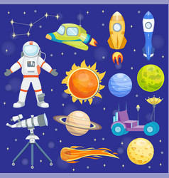 astronaut space icons landing planets vector image