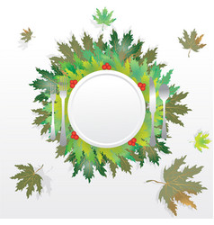 Autumn leaves round label vector