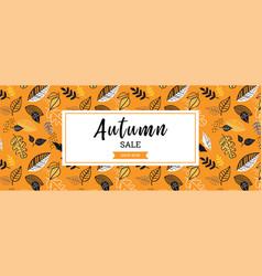 autumn sale background banner with leaves for vector image