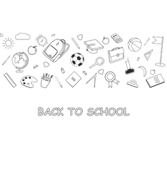 Back to School lineart background Various school vector