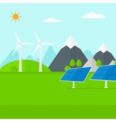 Background of solar panels and wind turbines in vector