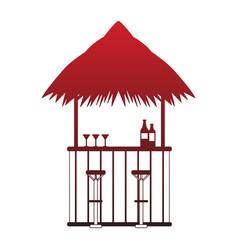 Bar beach kiosk red lines vector