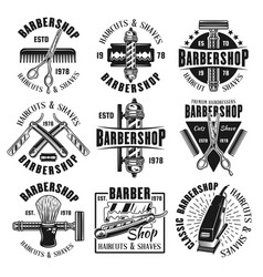 Barbershop monochrome emblems badges or labels vector
