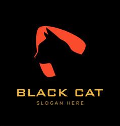 Black cat logo design vector