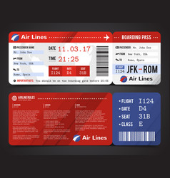 Boarding pass design composition vector