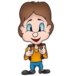boy with school bag vector image