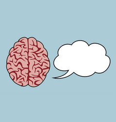 brain thinking concept with cloud speaking bubble vector image