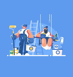 Brigade of painters with buckets and rollers vector