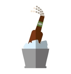 Bucket beers cool ice design outline shadow vector