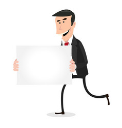 Cartoon white businessman running with blank sign vector