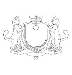 cat pets heraldic shield coat arms vector image